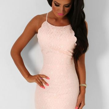 Annalee Peach Lace Mini Dress | Pink Boutique