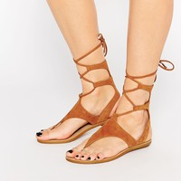 Kendall & Kylie Faris Tan Suede Ghillie Tie Up Flat Sandals
