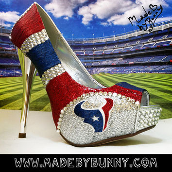 Houston Texans NFL DESIGN for HEELS |Custom Glitter & Crystal Rhinestone Bedazzled Sports Shoes | nfl | football | game day