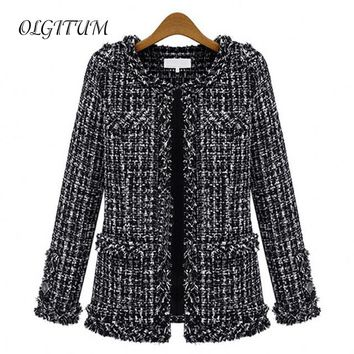 2017 Autumn winter women Slim thin checkered Tweed  casual O-Neck  Jacket with pocket loose outwear