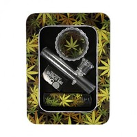 Dutch Mini Glass Steamroller Pipe Gift Set with Acrylic Grinder