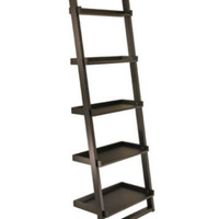 Modern Leaning Bookcase With Five Shelves Home Office Furniture Black Finish New