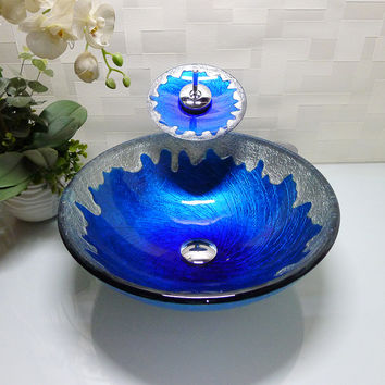 Bathroom Round Tempered Glass Above Counter Wash Basin Cloakroom Counter Top Vessel Sink Hx009