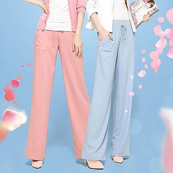 2017 new summer Fashion casual brand wide leg plus size cotton linen women's female girls loose pants trousers clothing clothes