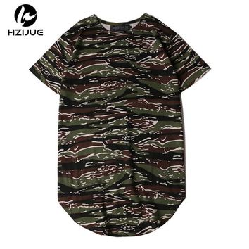 2018 Summer Extended Curved Hem T Shirt Men Camouflage Longline Hip Hop T-shirt Elongated Tee Shirts Justin Bieber Kanye West