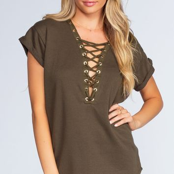 Brooke Lace Up Top - Olive