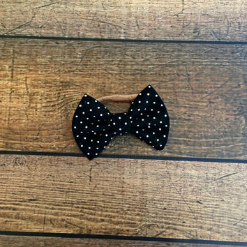 black polka dot bow, baby bows, baby headband, newborn headband, baby girl bow headbands, baby bow set, hair bows, baby shower gift, bow set
