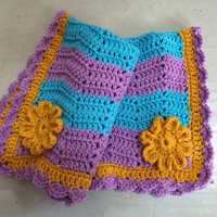 Blanket, Blue Purple and Gold, Baby, Crochet Blanket, Newborn, Layering Blanket, Mini Blanket, Wrap, Baby Wrap