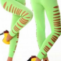 Green Big Ripped Opaque Spandex Stirrup Leggings