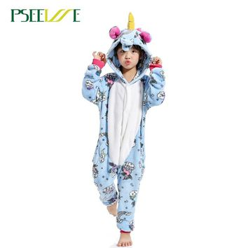 Children's Animal Pajamas Winter Warm Girl Boy Kids Pajama Cartoon unicorn  Stitch Panda Cosplay Onesuit Hooded Cute  Sleepwear