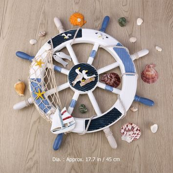 WINOMO 18-Inch Wheel Wall Decor Nautical Decor Nautical Boat Steering Wheel