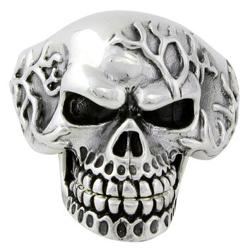 Sterling Silver Electro Skull Ring (Moveable Jaw)