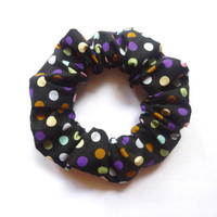 Black Polka Dot Scrunchie, Patterned Cotton Scrunchies, Colourful Hair Accessory