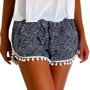 Women Polka Dot High Waist Tassel Shorts 2017