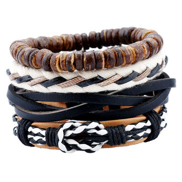 Handmade Rope Leather Bracelet Man Beads Charm Wrap Bracelets Jewelry Wristband Retro Summer Accessories Anchor Cross 4pcs