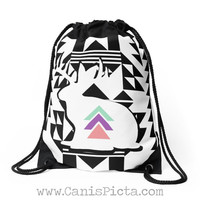 Jackalope Tribal Modern Bag Drawstring Backpack Bright Pastel Black Tote Purse White Triangle Pastel Pink Purple Mint Abstract Bunny Rabbit