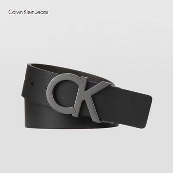Calvin Klein CK Women Men Big Logo Smooth Buckle Belt Leather Belt I-MG-FSSH