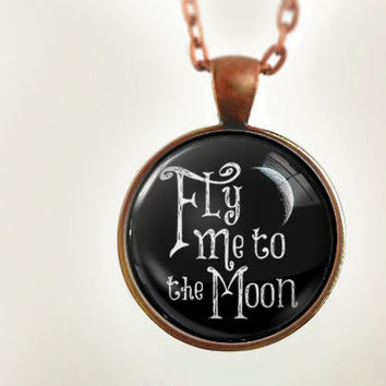 Fly Me to the Moon : Glass Dome Necklace by HomeStudio. 24 inch chain included. Round art pendant jewelry.