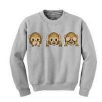Women Girl Monkey Pattern Sweatshirt