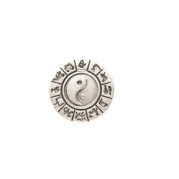 Yin and Yang Silver Plated Adjustable Ring