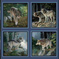 Springs Creative Pine Ridge  Large Wolf Pillow Panel Cotton Fabric for Quilting and Sewing, Free Shipping.