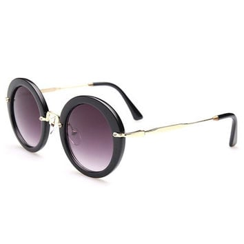 Metal Hinge Design Rounded Sunglasses