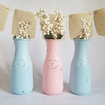 Gender Reveal Party - Baby Shower Centerpiece - Gender Reveal Decorations - Pink and Blue Milk Bottle Vase - Bud Vase Set - Flower Vase -