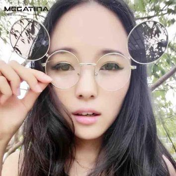 Megatina Vintage Round Glasses Folding Glasses Double Layer Lens Clout Goggles Shades UV400 Eyeglasses Sunglasses Men KS7284