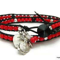 USMC Wrap Bracelet Double Wrap Ladder Bracelet with Bamboo Coral and Black Jasper Beads