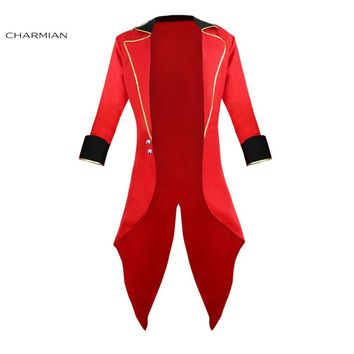 Cool Charmian Men's Halloween Cosplay Costume Retro Red Tailcoat Jacket Vintage Swallow-tailed Coat Carnival CostumeAT_93_12