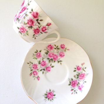 Vintage English Crown Staffordshire Fine Bone China Tea Cup and Saucer Tea Party