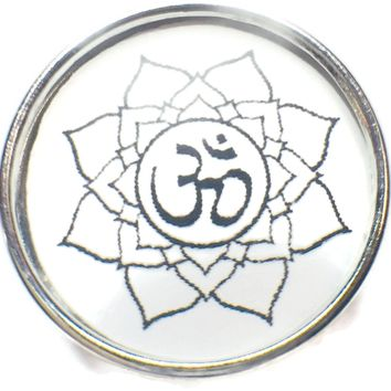 Namaste Aum and Lotus Flower Symbol 18MM - 20MM Fashion Snap Jewelry Snap Charm New Item