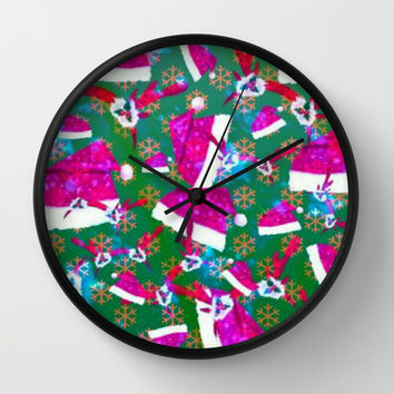 Santa hat, snow flakes and antlers original Wall Clock by Lilbudscorner