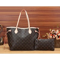 LV Louis Vuitton Flor Women Girl Monogram Canvas Neverfull Two piece And Key pouch-Coin purse