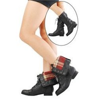 Diva Lounge Tosca21 Black Plaid Lining Laced Mid Calf Boots and Womens Fashion Clothing & Shoes - Make Me Chic