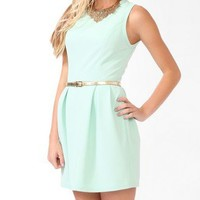 Ribbed Dress w/ Metallic Belt