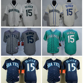 Seattle Mariners 15 Kyle Seager Jersey Flexbase Cool Base Kyle Seager Baseball Jerseys Uniforms Team Color Green Grey White Beige