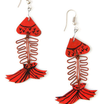 African Assorted Recycled Aluminum Fish Earrings
