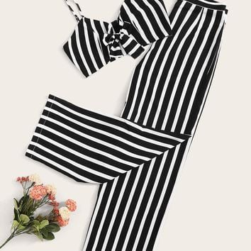 Knot Front Crop Cami & Striped Palazzo Pants Set