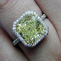 8.05ct Radiant Cut Fancy Yellow Diamond Engagement Ring GIA certificate JEWELFORME BLUE