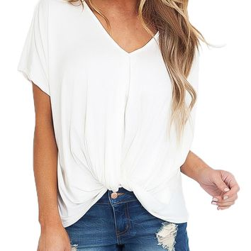 Chicloth White Draped Front Knot Top