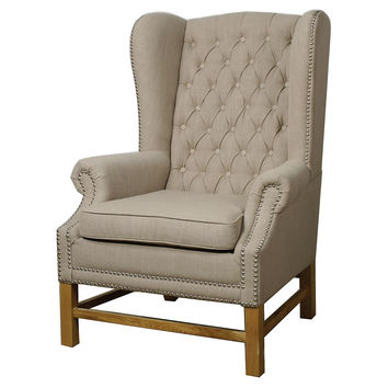Graham Tufted Wingback Chair, Khaki, Wingbacks