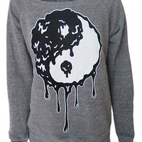 Zombie Ying Yang Womens Grey Sweatshirt - Darkside Clothing