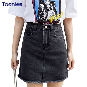 Summer Style Fashion Denim Skirt Female Package Hip Skirt High Waist A-line Jeans Skirts Slim Streetwear Clothing Fitness New