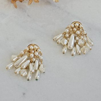 Vintage 1980s Pearl Cluster + Chandelier Earrings