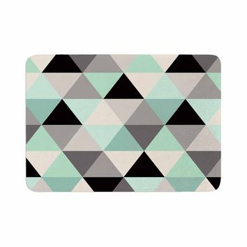 "Crystal Walen ""Triangle Geo Mint "" Teeal Black Memory Foam Bath Mat - Outlet Item"