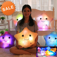 Unicorn Plush Kawaii LED Luminous Star Pillow Cute LED Light Pillow Soft Plush Pillow Toys for Children
