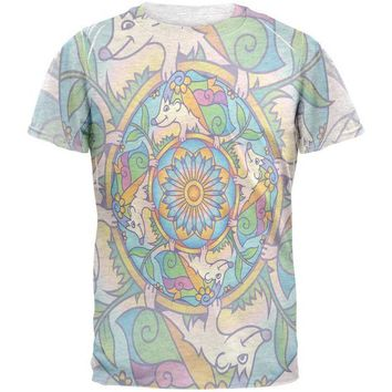 LMFCY8 Mandala Trippy Stained Glass Hedgehog Mens T Shirt
