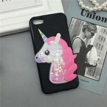 Luxury TPU Girls Case Coque for Apple iPhone 5C Unicorn Cover Dynamic Quicksand Phone Cases Glitter Liquid Silicone Shell