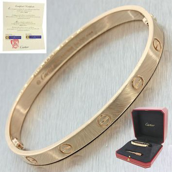 Unworn 2016 Cartier Love 18k Rose Gold Screw Bangle Bracelet Box&Papers 18